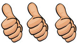 3 thumbs up, thumbs up, three thumbs up