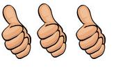 3 thumbs up, thumbs up, three thumbs up